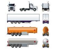 De vector realistische semi die reeks van het vrachtwagenmodel op wit wordt geïsoleerd Royalty-vrije Stock Afbeeldingen