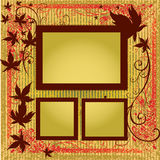 De vector reeks frames met de Herfst doorbladert. Thanksgivi Stock Foto
