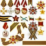 Inzameling van retro Russische medailles en linten voor ontwerp royalty-vrije illustratie