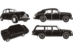De vector reeks van het autosilhouet royalty-vrije illustratie