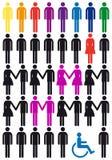De vector reeks van het mensenpictogram Stock Afbeelding