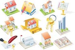 De vector reeks van het onroerende goederenpictogram Stock Foto