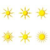De vector Reeks van het pictogram van de Zon Royalty-vrije Stock Foto's
