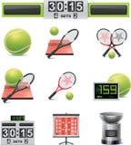 De vector reeks van het tennispictogram Stock Afbeeldingen