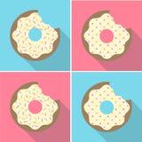De vector Retro Gebeten Donuts-Reeks van het Illustratie Vlakke Ontwerp Stock Afbeelding