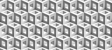 De vector rieten kubussentextuur, steekt geometrisch naadloos patroon, ontwerp witte achtergrond voor u aan projecten stock illustratie