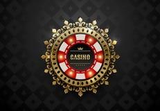 De vector rode witte spaander van de casinopook met lichtgevende lichte elementen en het gouden kader van de kroonkroon De zwarte royalty-vrije illustratie