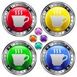 De vector ronde knoop met koffie of de thee vormt pictogram tot een kom Stock Foto