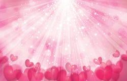 De vector roze achtergrond met lichten, stralen en hoort Stock Foto