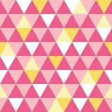 De vector roze en gele naadloze driehoekstextuur herhaalt patroonachtergrond Perfectioneer voor moderne stof, behang Stock Foto