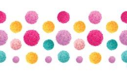 De vector Roze Gele Kleurrijke Verjaardagspartij Pom Poms Set Horizontal Seamless herhaalt Grenspatroon Groot voor met de hand ge Royalty-vrije Stock Foto