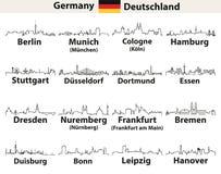De vector schetst pictogrammen van de stedenhorizonnen van Duitsland royalty-vrije illustratie
