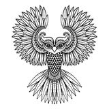 De vector sier etnische Uil, zentangled mascotte, amulet, masker stock illustratie