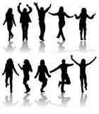 De vector silhouetteert de dansende mens en vrouwen Stock Afbeeldingen