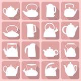 De vector silhouetteert de gestileerde vlakke die reeks van de embleemtheepot op roze wordt geïsoleerd Royalty-vrije Stock Afbeelding