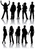 De vector silhouetteert de mens en vrouwen Royalty-vrije Stock Afbeelding