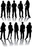 De vector silhouetteert de mens en vrouwen Stock Foto's
