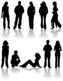 De vector silhouetteert de mens en vrouwen Royalty-vrije Stock Fotografie