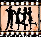 De vector silhouetteert de mens en vrouwen op fotografische film Stock Foto