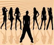 De vector silhouetteert de mens en wom stock illustratie