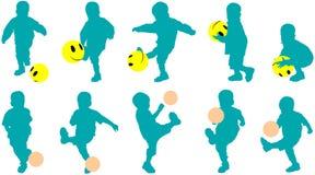 De vector silhouetteert weinig kind als voetbalster Stock Fotografie