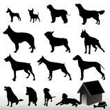 De vector Silhouetten van de Hond stock afbeelding