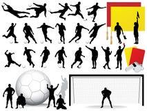 De vector Silhouetten van het Voetbal Stock Fotografie