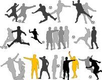 De vector Silhouetten van Voetballers stock illustratie