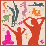 De vector silhouetten van yogaasana Royalty-vrije Stock Foto's