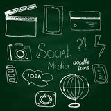 De vector sociale media stijl van de pictogram vastgestelde krabbel  Royalty-vrije Stock Fotografie