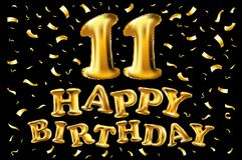 De vector 11st Verjaardagsviering met gouden ballonsconfettien, schittert 3d Illustratieontwerp voor uw groetkaart, verjaardag bi Royalty-vrije Stock Foto