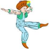 De vector stelt het dansen voor weinig jongen in oostelijk kostuum Stock Afbeeldingen