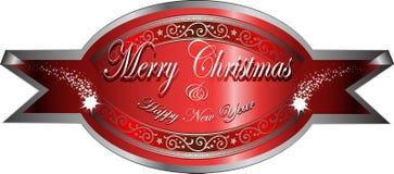 De vector sticker van Kerstmisgroeten Stock Fotografie