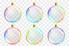 De vector transparante ballen van het Kerstmisglas Kerstmis balsl decoratie Stock Afbeeldingen