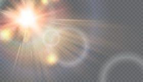 De vector transparante gloed van de zonlicht speciale lens Stock Foto