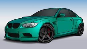 De vector trekt van een vlakke sportwagen met zwarte lijnen Royalty-vrije Stock Afbeeldingen