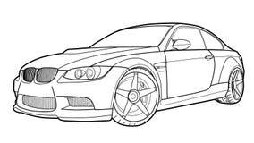 De vector trekt van een vlakke sportwagen met zwarte lijnen Royalty-vrije Stock Foto
