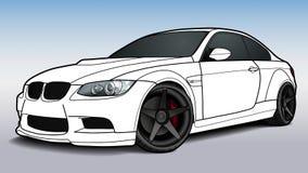 De vector trekt van een vlakke sportwagen met zwarte lijnen Stock Afbeeldingen