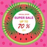De vector tropische verkoop van de illustratiebanner, kortingen tot 70% weg stock illustratie