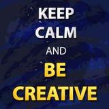 De vector Typografische Illustratie op Abstracte Blauwe Achtergrond, houdt Kalm en is Creatief royalty-vrije illustratie