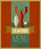De vector uitstekende affiche van het zeevruchtenmenu met vissen, zeekreeft en citroen Stock Afbeeldingen