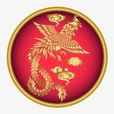 De vector uitstekende Chinese gravure van Phoenix met retro ornamentpatroon Royalty-vrije Stock Fotografie