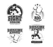 De vector uitstekende emblemen van MMA, etiketten, kenteken, emblemen Royalty-vrije Stock Fotografie