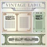 De vector uitstekende etiketten van de grensstijl op verschillende versies Royalty-vrije Stock Fotografie