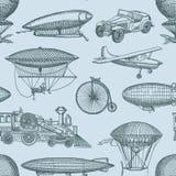 De vector uitstekende hand getrokken luchtschepen van de patroon of achtergrondillustratie stock illustratie