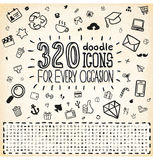 320 de Universele Reeks van de Pictogrammen van de krabbel Stock Afbeeldingen