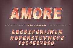 De Vector van 'Amore 'van modern gewaagd doopvont en alfabet, lettersoort, letters en getallen vector illustratie