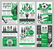 De vector van de de barvoetbal van voetbalsporten affiches van het de barmenu Royalty-vrije Stock Afbeelding