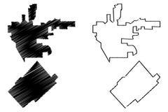 De vector van Beverly Hills en van de kaart van San Fernando royalty-vrije illustratie