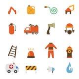 De vector van brandweermanpictogrammen Royalty-vrije Stock Afbeeldingen